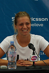 July 26, 2011; Stanford, CA, USA;  Maria Kirilenko (RUS) participates in a press conference during the Bank of the West Classic women's tennis tournament at the Taube Family Tennis Stadium.