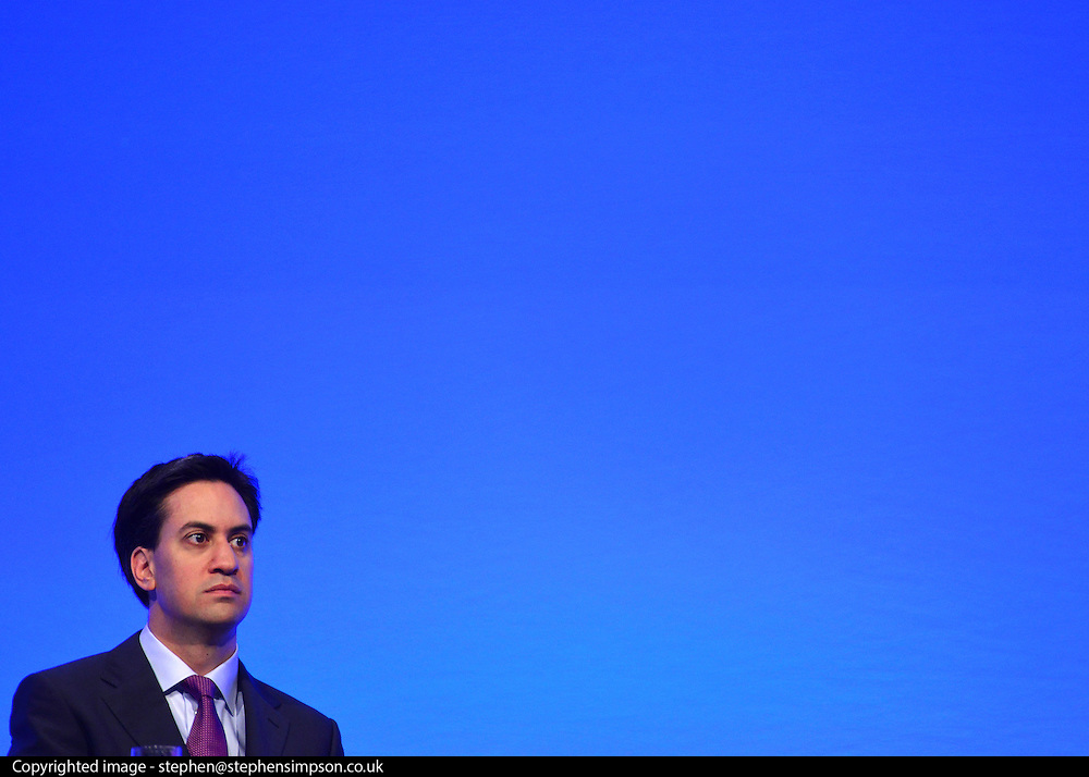 © Licensed to London News Pictures. 02/10/2012. Manchester, UK Leader of the Labour Party Ed Miliband. The Labour Party Conference Day 3 at Manchester Central. Photo credit : Stephen Simpson/LNP