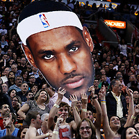 17 January 2012: LeBron James big head is waived by fans during the Miami Heat 120-98 victory over the San Antonio Spurs at the AmericanAirlines Arena, Miami, Florida, USA.