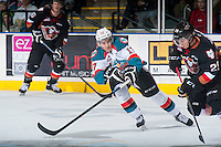 KELOWNA, CANADA - FEBRUARY 28: Rodney Southam #17 of Kelowna Rockets blocks a pass against the Calgary Hitmen on February 28, 2015 at Prospera Place in Kelowna, British Columbia, Canada.  (Photo by Marissa Baecker/Shoot the Breeze)  *** Local Caption *** Rodney Southam;