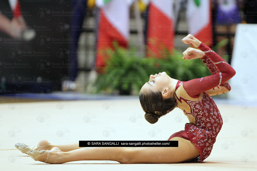 Ferrari Francesca of SOCIETA' GINNASTICA PAVESE A.S.D. performing in a freehand routine during the 2012 italian Serie A2 rhythmic gymnastic competition. Her score was 22,45