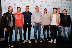 Pep Guardiola, Rodolfo Borrell, Xabi Mancisidor, Carles Planchart, Brian Kidd, Lorenzo Buenaventura attends the World Premiere of Prime Video series. All or Nothing: Manchester City, at The Printworks in Manchester ahead of its release on Friday.