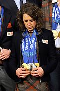 Officiele Huldiging van de Olympische medaillewinnaars Sochi 2014 / Official Ceremony of the Sochi 2014 Olympic medalists.<br /> <br /> Op de foto:  Ireen Wust
