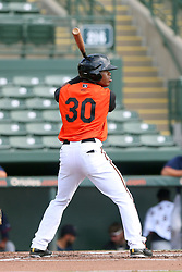 July 17, 2018 - Sarasota, FL, U.S. - Sarasota, FL - JUL 17: Markel Jones (30) of the Orioles at bat during the Gulf Coast League (GCL) game between the GCL Twins and the GCL Orioles on July 17, 2018, at Ed Smith Stadium in Sarasota, FL. (Photo by Cliff Welch/Icon Sportswire) (Credit Image: © Cliff Welch/Icon SMI via ZUMA Press)