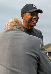 May 29, 2019 - Dublin, OH, U.S. - DUBLIN, OH - MAY 29: Tiger Woods shares a moment with Jack Nicklaus during the Pro-Am of the Memorial Tournament presented by Nationwide at Muirfield Village Golf Club on May 30, 2018 in Dublin, Ohio. (Photo by Adam Lacy/Icon Sportswire) (Credit Image: © Adam Lacy/Icon SMI via ZUMA Press)