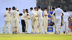 November 9, 2018 - Galle, Sri Lanka - England cricketers celebrate their victory over Sri   Lankan team during the 4th day's play of the first test cricket match between Sri Lanka and England at Galle International cricket stadium, Galle, Sri Lanka. 11-09-2018  (Credit Image: © Tharaka Basnayaka/NurPhoto via ZUMA Press)