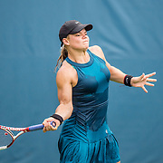 August 20, 2016, New Haven, Connecticut: <br /> Eva Raszkiewicz in action during a US Open National Playoffs match at the 2016 Connecticut Open at the Yale University Tennis Center on Saturday, August  20, 2016 in New Haven, Connecticut. <br /> (Photo by Billie Weiss/Connecticut Open)