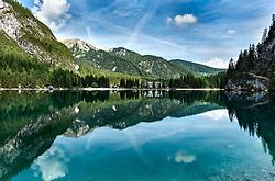 THEMENBILD - Blick vom Ufer des Pragser Wildsee, aufgenommen am 31. Mai 2017, Pragser Wildsee, Italien // View from the shore of the Pragser Wildsee at Pragser Wildsee, Italy on 2017/05/31. EXPA Pictures © 2017, PhotoCredit: EXPA/ Stefan Adelsberger