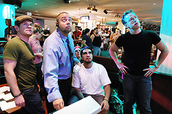 "Team from ""Wicked""..---.New York, NY: Thursday, Sept. 4, 2008 : Leisure Time Bowl at Port Authority in New York, NY: The broadway show bowling league - more than a hundred broadway actors, directors, and crew members get together every thursday night at leisure time bowl in the port authority from 11 p.m. until 2 a.m. ..NOTE: PLENTY of add'l images if need for slideshow..---.ROB BENNETT for The New York TImes"