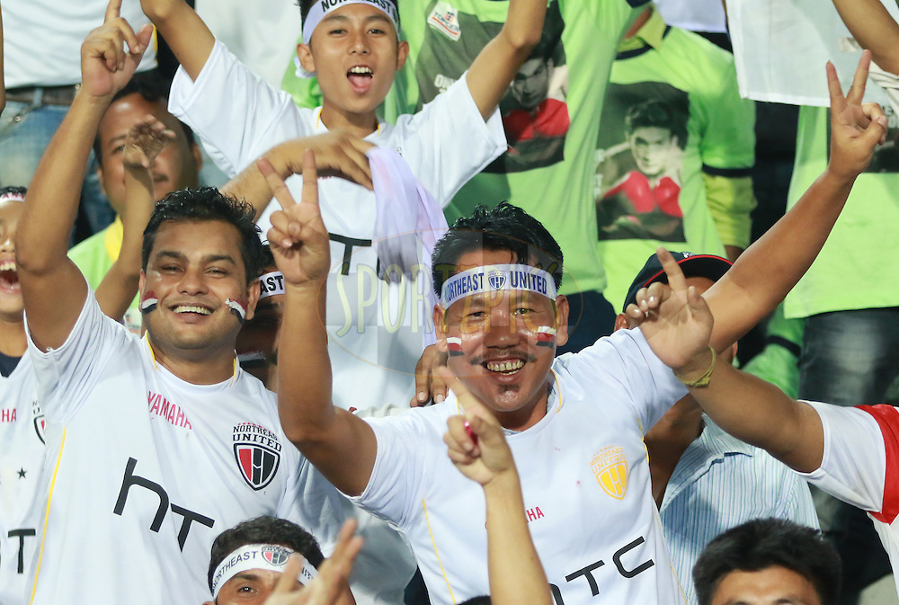 Fans during match 18 of the Indian Super League (ISL) season 3 between NorthEast United FC and Chennaiyin FC held at the Indira Gandhi Athletic Stadium in Guwahati, India on the 20th October 2016.<br /> <br /> Photo by Saikat Das / ISL/ SPORTZPICS