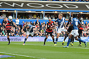Birmingham City defender Paul Robinson heads home the equaliser during the Sky Bet Championship match between Birmingham City and Queens Park Rangers at St Andrews, Birmingham, England on 17 October 2015. Photo by Alan Franklin.