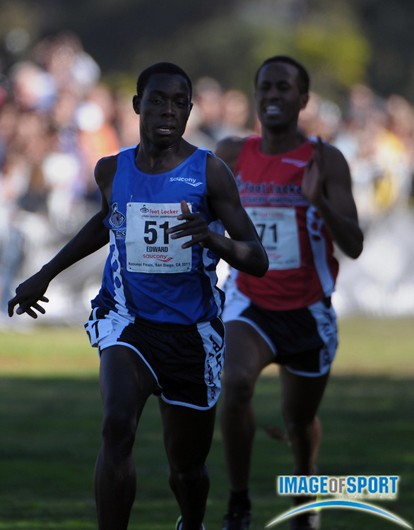 Dec 10, 2011; San Diego, CA, USA; Edward Cheserek (51) and Futsum Zeinasellassie (71) place first and second in the boys race in 14:52 and 14:53 in the 2011 Foot Locker cross country championships at Morley Field.