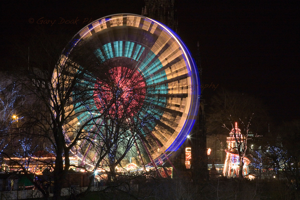 Ferris wheel and helter-skelter at the east end of Princes Street,Edinburgh