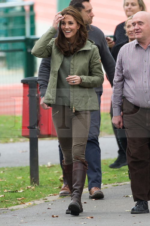 © Licensed to London News Pictures. 02/10/2018. London, UK. Catherine, Duchess Of Cambridge meets with school children during a visit to Sayers Croft Forest School and Wildlife Garden at Paddington Recreation Ground. Photo credit: Ray Tang/LNP