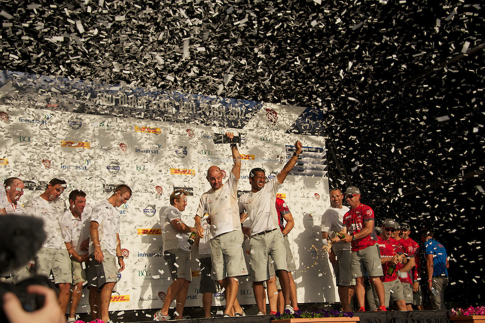13.01.2012, Abu Dhabi. Volvo Ocean Race, . Abu Dhabi Ocean racing boat winner team is congratuled, skipper Ian Walker,