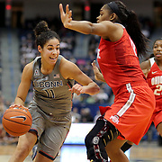 HARTFORD, CONNECTICUT- DECEMBER 19: Kia Nurse #11 of the Connecticut Huskies drives to the basket while defended by Tori McCoy #0 of the Ohio State Buckeyes during the UConn Huskies Vs Ohio State Buckeyes, NCAA Women's Basketball game on December 19th, 2016 at the XL Center, Hartford, Connecticut (Photo by Tim Clayton/Corbis via Getty Images)