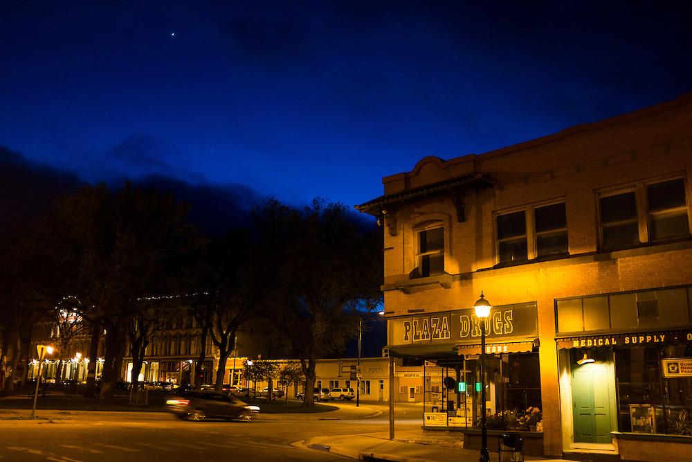 Plaza at dusk, Las Vegas, New Mexico.
