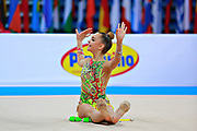 """Averina Dina during clubs routine at the International Tournament of rhythmic gymnastics """"Città di Pesaro"""", 11 April, 2015. Dina was born on August 13, 1998 in Zavolzhye, Russia. Dina has a twin sister ,Arina is also herself a great gymnast member of the Russian National Team.<br /> This tournament dedicated to the youngest athletes is at the same time of the World Cup."""