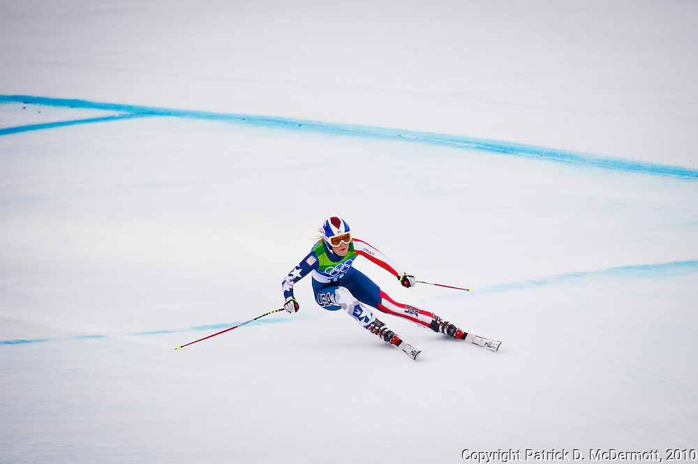 Lindsey Vonn of the United States competes in the Women's Super Combined during the 2010 Vancouver Winter Olympics in Whistler, British Columbia, Thursday, Feb. 18, 2010.