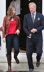 Sir Mark Thatcher  with his daughter Amanda who is Baroness Thatcher's granddaughter  as they leave the late Prime Minister's house in London, Monday 15th April 2013 Photo by: Stephen Lock / i-Images