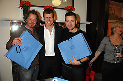 Left to right, CHARLEY BOORMAN, PADDY BYNG CEO of Smythson and actor EWAN McGREGOR at a party to celebrate the launch of the book 'Long Way Down' by Ewan McGregor and Charley Boorman held at Smythson, 40 New Bond Street, London W1 on 19th November 2007,<br />