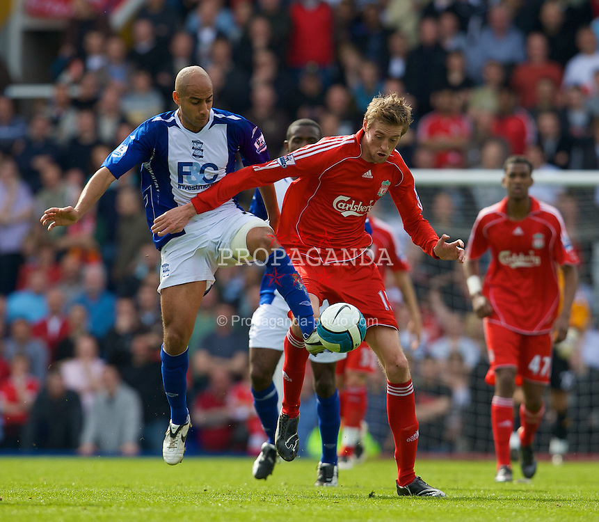 BIRMINGHAM, ENGLAND - Saturday, April 26, 2008: Liverpool's Peter Crouch and Birmingham City's Mehdi Nafti during the Premiership match at St Andrews. (Photo by David Rawcliffe/Propaganda)