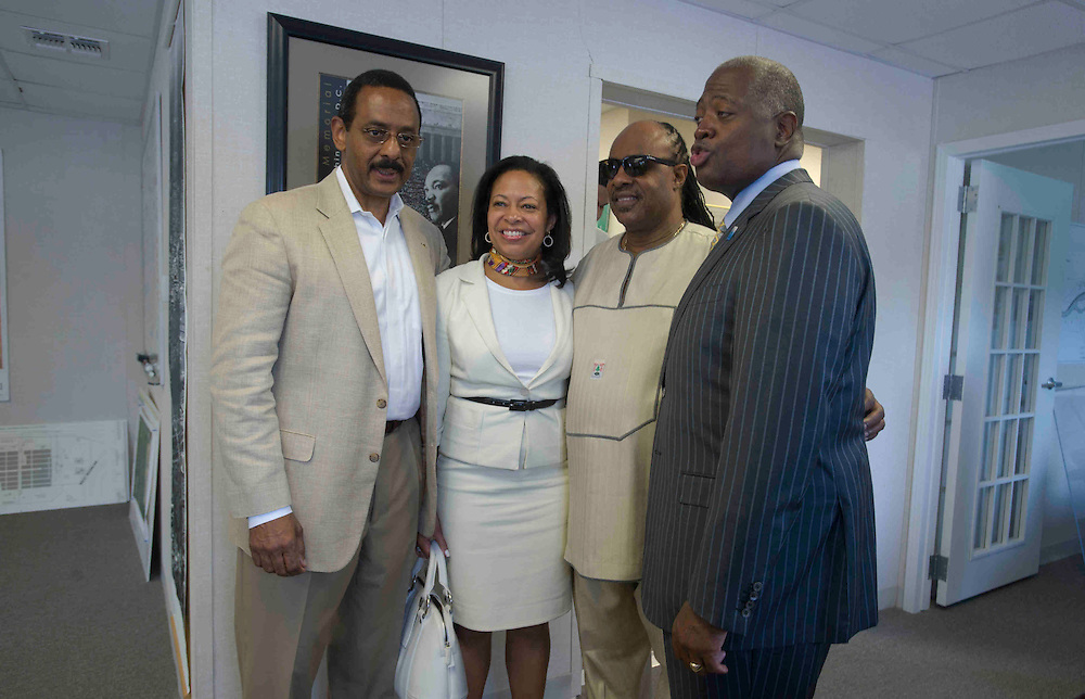 DISTRICT OF COLUMBIA (August 4, 2011) -- World famous American music icon Stevie Wonder meets with members of the Martin Luther King Jr., Memorial foundation. The music star visited the memorial that commemorates the life and work of Dr. Martin Luther King, Jr., honoring his global contributions to world peace through non-violent social change. The new memorial looks to perform an official dedication on Sunday, August 28, 2011, which is the 48th anniversary of the March on Washington and Dr. King's historic I Have A Dream speech.  Photo by Johnny Bivera