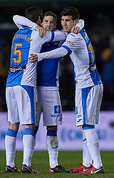 January 10, 2018 - Vila-Real, Castellon, Spain - Mantovani (L), Ruben Perez (C) and Ezequiel Munoz of CD Leganes  celebrate the victory during the Copa del Rey Round of 16, second leg game between Villarreal CF and CD Leganes on January 10, 2018 in Vila-real, Spain  (Credit Image: © David Aliaga/NurPhoto via ZUMA Press)