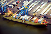 Aerial view of Chiquita Produce Container Ship docked at the port of Wilmington, Delaware