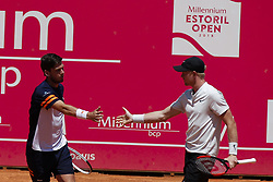 May 6, 2018 - Estoril, Portugal - Kyle Edmund (R) and Cameron Norrie (L) from Great Britain celebrate a point in their doubles match against Wesley Koolhof from Netherlands and Kyle Edmund from Great Britain during the Millennium Estoril Open ATP doubles final tennis match in Estoril, near Lisbon, on May 6, 2018. (Credit Image: © Carlos Palma/NurPhoto via ZUMA Press)