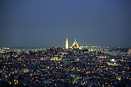 France. Paris. elevated view on the Sacre Coeur. les invalides. view from The hotel Concorde Lafayette. Porte Maillot.