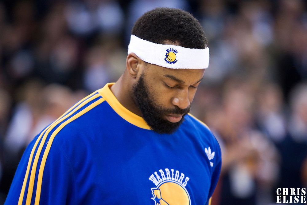 08 April 2008: Golden State Warriors guard Baron Davis is seen during the National Anthem prior to the Golden State Warriors 140-132 victory over the Sacramento Kings at the Oracle  Arena, in Oakland, California, USA.