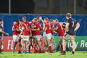 Canadian players celebrate the final whistle as they qualify for the world cup during the Rugby World Cup qualifier between Hong Kong and Canada at Stade Delort, Marseilles, France on 23 November 2018. Picture by Ian  Muir.