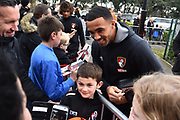 Callum Wilson (13) of AFC Bournemouth signing autographs and having selfies on arrival before the Premier League match between Bournemouth and Tottenham Hotspur at the Vitality Stadium, Bournemouth, England on 11 March 2018. Picture by Graham Hunt.