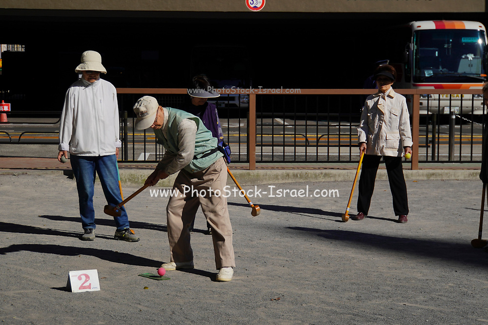 Tokyo, Japan Senior Citizens Play Croquet in a park