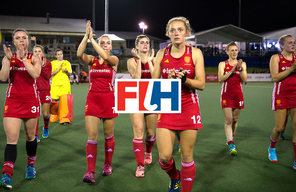 AUCKLAND - Sentinel Hockey World League final women<br /> Match id: 10310<br /> 20 ENG v NZL (Semi Final) 0-1<br /> New Zealand play the final<br /> Foto: Grace Balsdon, Hannah Martin Sarah Haycroft and  Erica Sanders and the rest of the team thanks the fans.<br /> WORLDSPORTPICS COPYRIGHT FRANK UIJLENBROEK