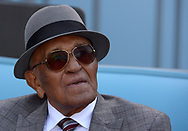 April 14, 2017 - Los Angeles, California, U.S. - Former Brooklyn and Los Angeles Dodgers pitcher Don Newcombe prior to a Major League baseball game between the Arizona Diamondbacks and the Los Angeles Dodgers at Dodger Stadium on Friday, April 14, 2017 in Los Angeles. (Photo by Keith Birmingham, Pasadena Star-News/SCNG) (Credit Image: © San Gabriel Valley Tribune via ZUMA Wire)