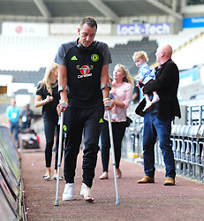 John Terry of Chelsea leaves the liberty stadium on crutches. - Mandatory byline: Alex James/JMP - 07966386802 - 11/09/2016 - FOOTBALL - Barclays premier league -swansea,Wales - Swansea v Chelsea  -