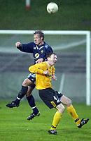 Fotball, 13. mai 2003, NM fotball herrer, Strømsgodset-Bærum, Kim Larsen, Strømsgodset, og Truls Vaagen, Bærum