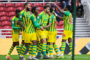 West Bromwich Albion forward Hal Robson-Kanu (4) celebrates with his team mates after scoring his team's first goal during the EFL Sky Bet Championship match between Middlesbrough and West Bromwich Albion at the Riverside Stadium, Middlesbrough, England on 19 October 2019.