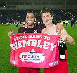 CARDIFF, WALES - Tuesday, May 17, 2011: Reading's match-winning goalscorers Jobi McAnuff (L) and two-goal Shane Long celebrate after their 3-0 victory over Cardiff City during the Football League Championship Play-Off Semi-Final 2nd Leg match at the Cardiff City Stadium. (Photo by David Rawcliffe/Propaganda)