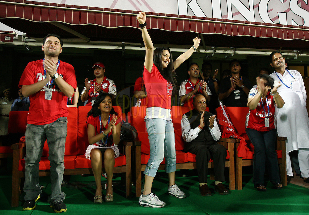 Kings XI Punjab owner Preity Zinta celebrate after winning during match 60 of the Indian Premier League ( IPL ) Season 4 between the Kings XI Punjab and the Delhi Daredevils held at the The HPCA Stadium in Dharamsala, Himachal Pradesh, India on the 15th May 2011..Photo by Money Sharma/BCCI/SPORTZPICS
