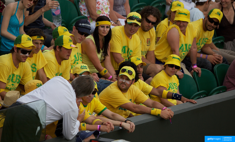 SERIES ...The Australian support group the fanatics cheering Lleyton Hewitt on before running into trouble with officials then congratulating Hewitt at the end of the match during at the All England Lawn Tennis Championships at Wimbledon, London, England on Monday, June 29, 2009. Photo Tim Clayton.