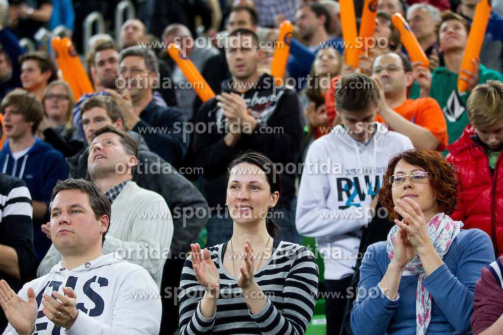 Fans of ACH celebrate after the volleyball match between ACH Volley and Lube Banca Marche Macerata (ITA) in 5th Leg of Pool D of 2013 CEV Champions League on December 5, 2012 in Arena Stozice, Ljubljana, Slovenia. ACH defeated Macerata 3-1. (Photo By Vid Ponikvar / Sportida)