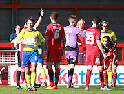 Crawley Town midfielder Luke Rooney is dismissed by referee Andy Davies during the Sky Bet League 2 match between Crawley Town and Accrington Stanley at the Checkatrade.com Stadium, Crawley, England on 26 September 2015. Photo by Bennett Dean.