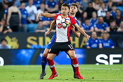 Dusan Tadic of Southampton takes on Aleksandar Dragovic of Leicester City - Mandatory by-line: Robbie Stephenson/JMP - 19/04/2018 - FOOTBALL - King Power Stadium - Leicester, England - Leicester City v Southampton - Premier League