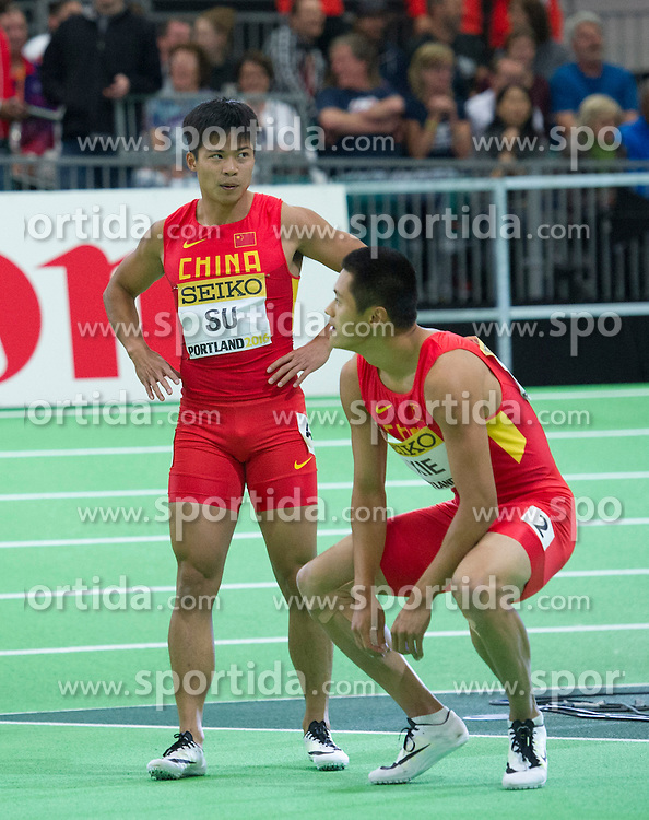 Su Bingtian(L) and Xie Zhenye of China react after the men's 60 metres final during day two of the IAAF World Indoor Championships at Oregon Convention Center in Portland, Oregon, the United States, on March 18, 2016. EXPA Pictures &copy; 2016, PhotoCredit: EXPA/ Photoshot/ Yang Lei from Chongqing<br /> <br /> *****ATTENTION - for AUT, SLO, CRO, SRB, BIH, MAZ, SUI only*****