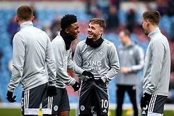James Maddison of Leicester City shares a joke with Kelechi Iheanacho of Leicester City - Mandatory by-line: Robbie Stephenson/JMP - 19/01/2020 - FOOTBALL - Turf Moor - Burnley, England - Burnley v Leicester City - Premier League