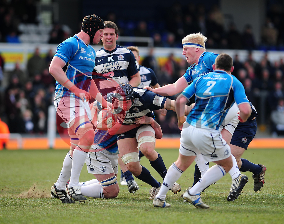 Bristol Number 8 (#8) Mitch Eadie gets tackled - Photo mandatory by-line: Dougie Allward/JMP - Tel: Mobile: 07966 386802 07/04/2013 - SPORT - RUGBY - Memorial Stadium - Bristol. Bristol v Leinster A - B&I Cup.
