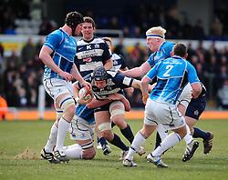 Bristol Number 8 (#8) Mitch Eadie gets tackled - Photo mandatory by-line: Dougie Allward/JMP - Tel: Mobile: 07966 386802 07/04/2013 - SPORT - RUGBY - Memorial Stadium - Bristol. Bristol v Leinster A - B&I Cup.